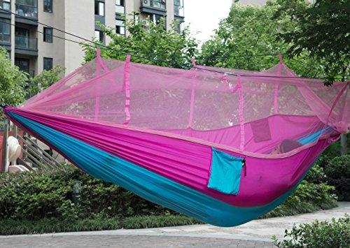 ParaCity Hamac d'extérieur en tissu de parachute léger avec moustiquaire pour intérieur, camping, randonnée, jardin Rose + bleu.