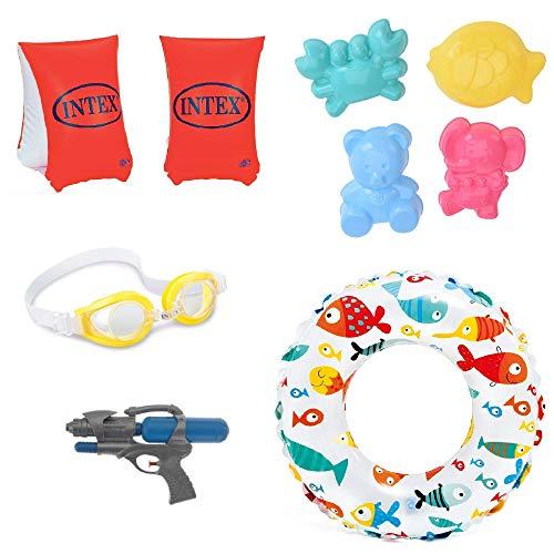 Swim & Fun Set, Schwimmflügel Schwimmring Schwimmbrille von INTEX sowie Sandformen und Wasserpistole, 8teiliges Schwimmset und Spielset für Kinder