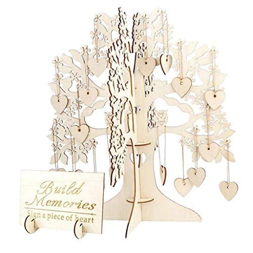 Árbol de Deseos Comunion de Madera Árbol de Saludo para invitados de Boda con Corazones de Madera 100 piezas