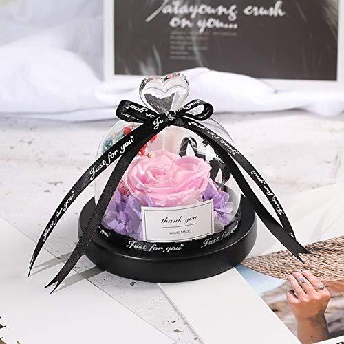 Decoratieve kunstbloem schoonheid en beest roos romantische eeuwige exclusieve glazen koepel roos verjaardagscadeau