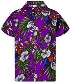 King Kameha - Camisa hawaiana para hombre, manga corta, bolsillo frontal, estampado hawaiano, diseño de loros Papagayo de cereza. XXL