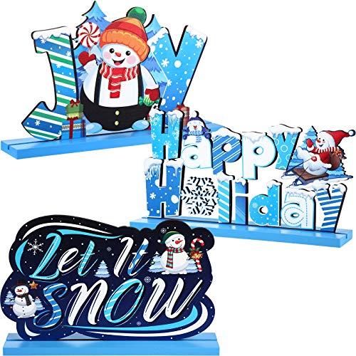 3 Decoraciones de Mesa de Madera de Navidad Centro de Mesa Let It Snow, Decoración de Fiesta de Muñeco de Nieve, Adorno de Madera de Invierno Congelado de Joy para Invierno Mesa Cena Árbol Navidad