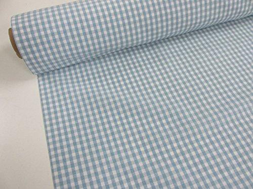 Confección Saymi Metraje 2,45 MTS Tejido Vichy, Cuadro pequeño 5x5 mm. Color Azul Bebé, con Ancho 2,80 MTS.