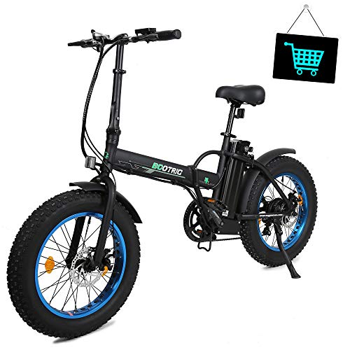 KUAFU 20' 500W 36V 12Ah Fat Tire Folding Electric Bike Removable Lithium Battery Beach Snow Bicycle Moped Electric Mountain Bike Powerful Motor Aluminum Frame Black and Blue
