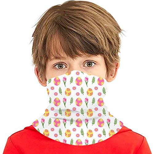 lymknumb Cubierta facial de enfriamiento Serie de Pascua-Plantas y huevos de Pascua Diadema Bandanas Cubierta bucal Polaina para el cuello Adolescentes Polvo al aire libre