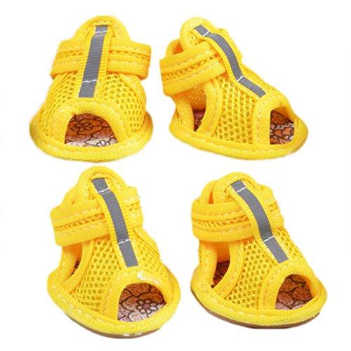 Hundeschuhe AtmungsaktivHaustier Schuhe GummiStiefel Anti-Rutsch Pfotenschutz Sandalen Frühling und Sommer 4-er für Kleine Hunde Poodle BichonFrise (5#, gelb)