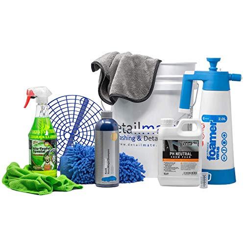 detailmate Set Handwäsche: GritGuard: Wascheimer 5 GAL + Einsatz + Kwazar Foamer 2l + ValetPRO Snow Foam 1l + Koch Chemie Shampoo + Tuga Felgenreiniger + Trockentuch + Waschhandschuh + Mikrofasertuch
