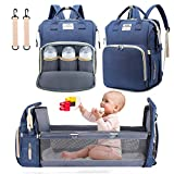 3 in 1 Diaper Bag Backpack with Changing Station, NIUTA 2021 Travel Bassinet Foldable Baby Bed with Insulated Pocket, Baby Bag Portable Crib, Large Capacity, Waterproof. (Dark Blue)