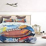 UNOSEKS LANZON Parure de lit en forme de losange - Motif ballon de rugby - Avec dessin coloré - Matériel professionnel - Doux et léger - Facile à laver et à sécher - Multicolore - King size
