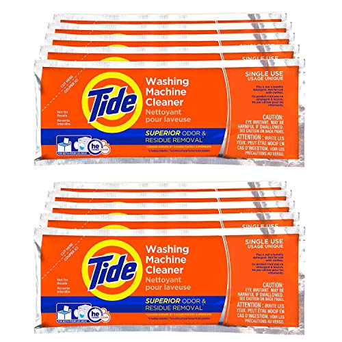 Washing Machine Cleaner by Tide, 10 Count Box, Washer Cleaner Powder for Front and Top Loader Machines, New Milder Scent