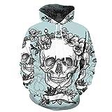 Blue and White Reflections chompas de Mujer Invierno Suéter con Capucha de Flores y Calaveras Suéter 3D impresión Digital Chaqueta Deportiva Informal-Color_2XL