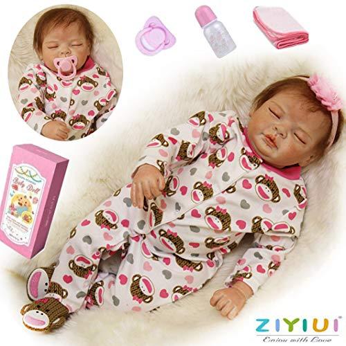 ZIYIUI Real Reborn Muñecos Bebé Ojos Cerrados Niña 22 Pulgadas 55 cm Reborn Muñecos Bebé Suave Silicona Vinilo Niños Juguetes