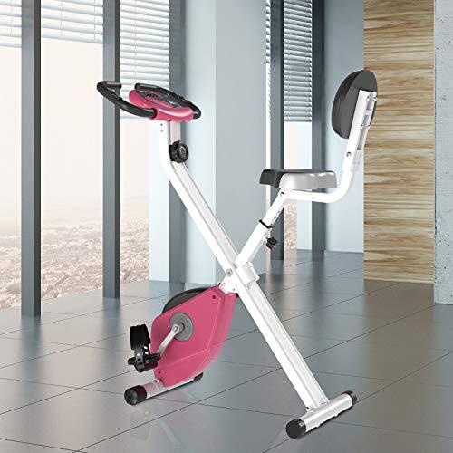 51MmARv6+IL - HOMCOM Bicicleta Estática para Ejercicios Profesional Bicicleta Vertical Plegable de Forma X con 8 Niveles Resistencia Magnética Asiento con Altura Ajustable Acero 43x97x109 cm Rosa