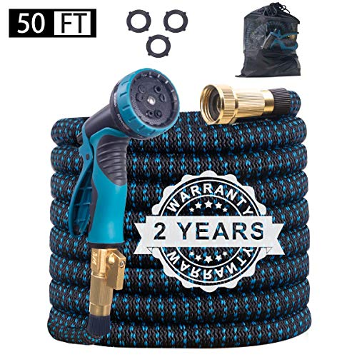 Benbilry 50FT Expandable Garden Hose, Extra Strength Fabric and Double Latex Core Water Hose, Flexible Expanding Water Hose with 9 Function Spray Nozzle, Best Choice for Watering and Washing