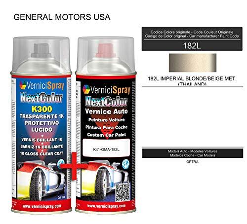 Automotive Touch Up Kit - Auto spray verf in metallic/parel kleur 182L IMPERIAL BLONDE/BEIGE MET. (THAILAND) en Glans Clear Coat, 400 ml Spraycans van VerniciSpray