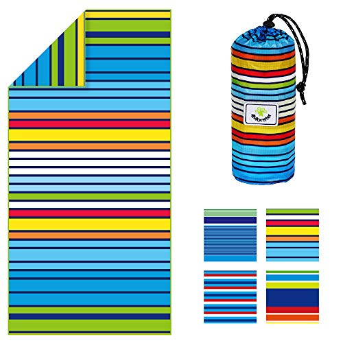 4Monster Microfiber Beach Towel for Travel Quick Dry Super Absorbent Lightweight Towel for Swimmers, Sand Free Towel, Beach Towels for Pool, Swim, Water Sports (21 Rainbow-A, Large (63 x 31.5 inches))