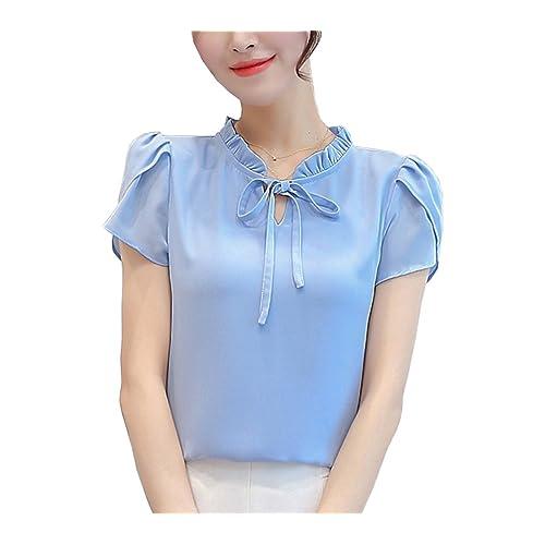 0a13afab3b5 Women s Chiffon Blouse Short and Long Sleeve Elegant Shirt Korean Fashion  Tops Blue