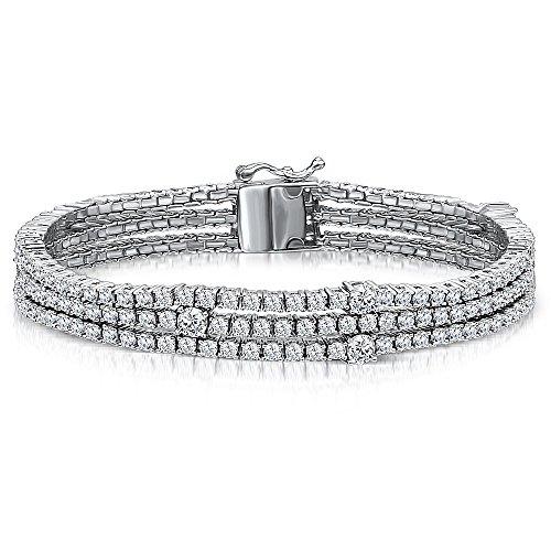 JOOLS by Jenny Brown Bracciale in argento stile tennis con tripla fila di 1,5 mm, 2,5 mm e una caratteristica più grande di 4 zirconi cubici taglio brillante