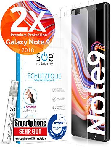 [2 Stück] 3D Schutzfolien kompatibel mit Samsung Galaxy Note 9 - [Made in Germany - TÜV] – HD Bildschirmschutz-Folie - Hüllenfre&lich – Transparent – kein Schutz-Glas sondern Panzer-Folie TPU