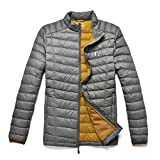 TAK Daunenjacke Herren Übergangsjacke Outdoor Leicht Down Jacket Casual Steppjacke mit Kapuze, Grau Gelb, L