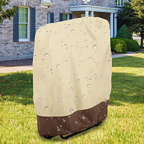 Klappstühle Schutzhülle, Liege Abdeckung Schutzhülle Abdeckhaube 210D Oxford Gewebe Schutzhülle mit Aufbewahrungstasche für Liegestuhl Wasserdicht Winddicht UV-Beständiges (Brown)