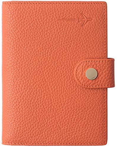 Slim Passport Cover Ultra RFID Blocking US family 2 Passport Wallet for Women and Men Orange