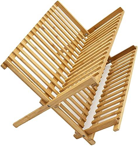 LEYENDAS ESCURREPLATOS. Escurridor de Platos con 2 Niveles de bambú Plegables (2...