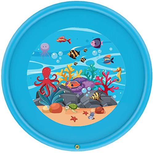 Roroyi Sommer-Kinder Baby-Spiel Wasserspiele Beach Pad, Matte Rasen Aufblasbares Spray Wasserkissen Schwimmbecken Spielzeug, 170cm (Blau)