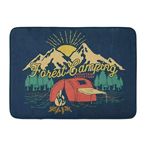 ACYKM Alfombra de Puerta Impresa en 3D Felpudos Alfombras de baño Alfombra de Puerta Interior al Aire Libre Campest Camping Adventure Vintage Graphic Mountain Campfire Retro Decoración de baño