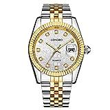 Relojes De Pulsera,Pareja De Moda Reloj Cinturón De Acero Inoxidable Reloj Casual De Negocios con Diamantes, Cara Blanca Cinturón De Oro Masculino