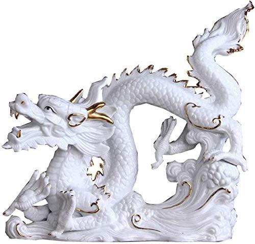 L.TSN Estatuas de dragón coleccionables para decoración del hogar, Figuras de cerámica de Feng Shui, Adorno de Escultura, atraer Riqueza y Prosperidad, éxito en los Negocios, Blanco, Color: Azul (