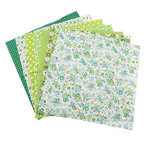 Agatige 7 Piezas 50 * 50 cm Tela de algodón, Suministros de Acolchado, Paquete de Cuadrados, Patchwork, Costura de Bricolaje(Verde)