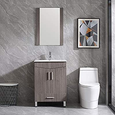"""Walsport Bathroom Vanity Sink Combo, 24"""" Modern Wood Cabinet Basin Vessel Sink Set with Mirror, Chrome Faucet, P-Trap"""