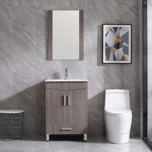 "Walsport Bathroom Vanity Sink Combo, 24"" Modern Wood Cabinet Basin Vessel Sink -"