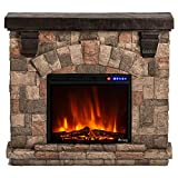 e-Flame USA Alpine LED Electric Fireplace Stove with Faux Wood and Stone Mantel - Remote - 3D Log and Fire