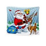 Tapiz Pared de Creativo, Morbuy Estampado de Santa Claus Decoración Tapices Tapicería Cubierta del Sofa Manteles Cortina Picnic Blanket Playa Accesorio Casero (Cadena de Luces navideñas,200x170cm)
