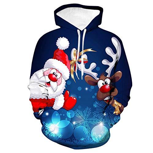 Morton PegfwaS 3D Pullover Cartoon Santa Elk Print Rundhals Langarm Herren Baseballuniform mit Hut Mantel