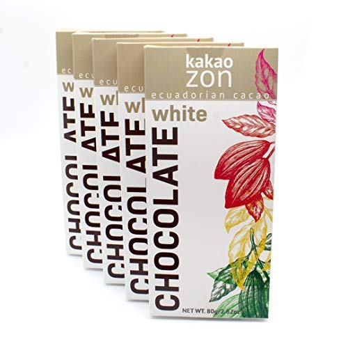 KakaoZon White Chocolate Bars | White Chocolate | 100% Ecuadorian Chocolate | GlutenFree | NonGMO | Free of major allergens | Fairly Traded | 5 Bars