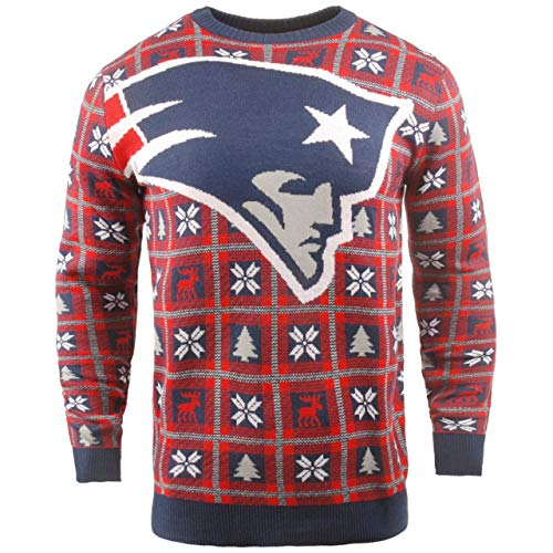 BIG NFL Ugly Sweater Pullover Christmas New England Patriots Logo Kersttrui