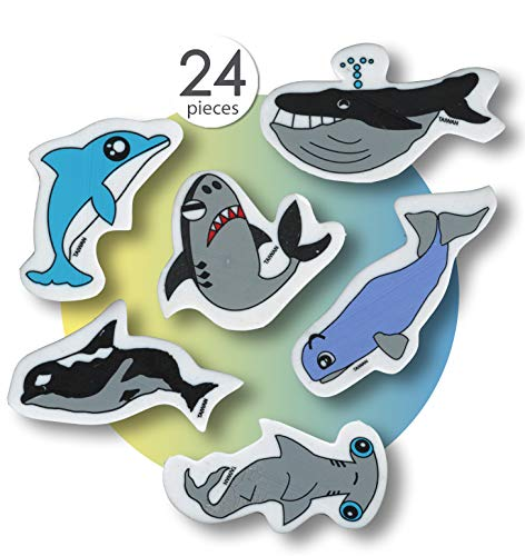 AoneFun Fish Erasers for Kids Classroom Prizes Animal Erasers Pencil Eraser Prizes for Kids Classroom Cute Erasers Bulk Fun Erasers for School Cool Erasers Kids Erasers Novelty Erasers for Kids 24 Pcs