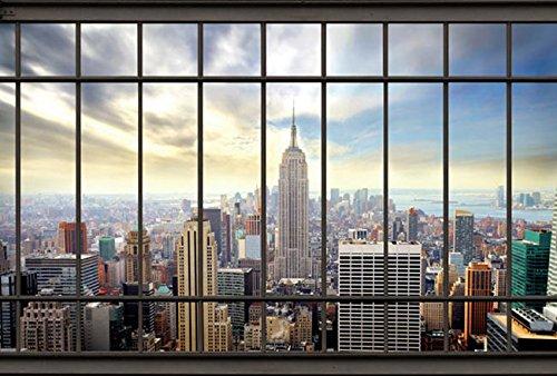 Scenolia Papier Peint Intissé New York Depuis le Bureau 4 x 2,70m - Décoration Murale Effet Trompe l'Oeil - Revêtement Panoramique Tapisserie XXL - Pose Facile et Qualité HD