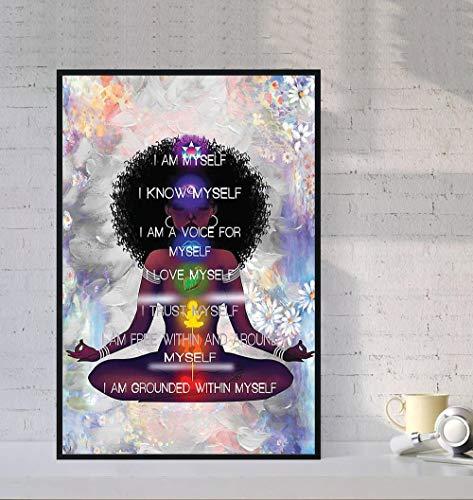 MG global Black Yoga Girl | I'm Myself, I Know Myself, I Love Myself, I Love Myself. Póster, póster vintage, decoración del hogar, arte de la pared | 1507m15 sin marco