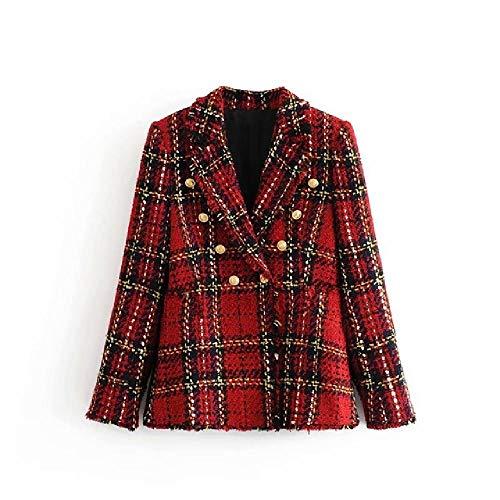 N\P Tweed Mujer Blazers a Cuadros RojosModa de Invierno Mujer Chaquetas Vintage Patchwork Blazer Abrigos niñas Ropa Elegante Traje
