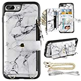 LAMEEKU Wallet Case Compatible with iPhone 8 Plus, iPhone 7 Plus Card Holder Leather Case with Wrist Chain Crossbody Strap Zipper Case for iPhone 7 Plus/8 Plus, 5.5 inches-White Marble