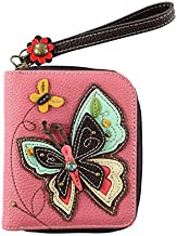 CHALA Zip Around Wallet, Wristlet, 8 Credit Card Slots, Sturdy Pu Leather, New Butterfly - Pink