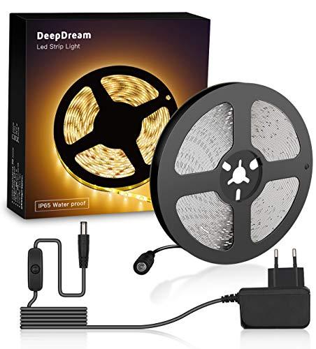 DeepDream LED Luces de Tiras 5m, 3000 K Blanco Cálido, IP65 impermeable, autoadhesivas, tira 300LEDs 2835, cinta flexible, fuente de alimentación de 12V con interruptor incluido