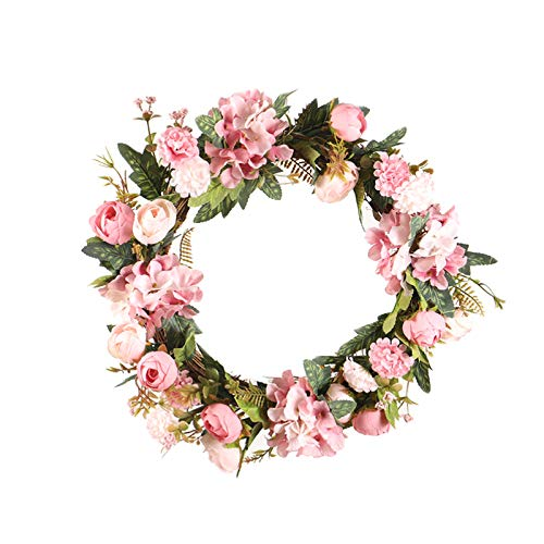 Frühlings-Kranz Türkranz mit Blumen, Dekoration für Frühling und Ostern Kunststoff Künstliche Eukalyptus Kranz Türkranz Deko Wandkranz Girlande Kunstpflanzen Hängen Kranz