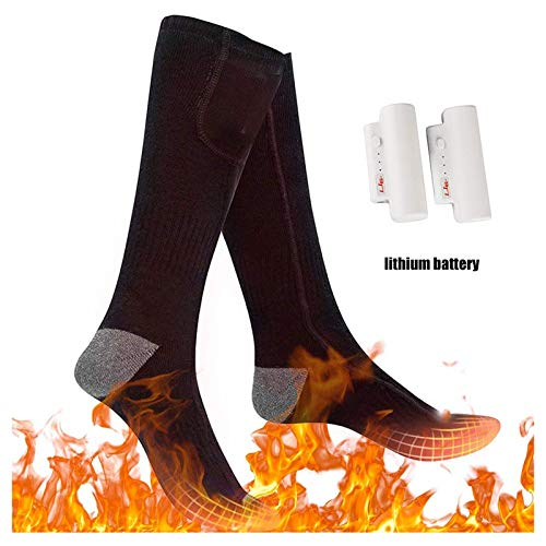 Upgraded Heated Socks Electric Rechargeable Battery 3 Levels Heating Settings Thermal Heating Sock for Men Women Camping Foot Warmers for Riding,Skiing,Motorcycling,Shoveling Snow (USB Charger)