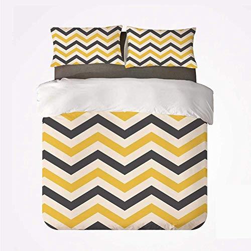 Juego de Funda nórdica Chevron Amarillo Cómodo Juego de 3 Camas, Zigzags Grandes en diseño Retro Azulejo Horizontal geométrico para Hotel