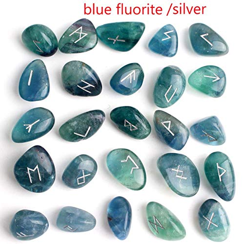 HONGHUA 25Pcs Freedom Natural Jade Crystal Runes Stones Silver Symbol Divination Gemstone Rune Fortune-Telling Reiki Healing Gift Decor,Blue Fluorite